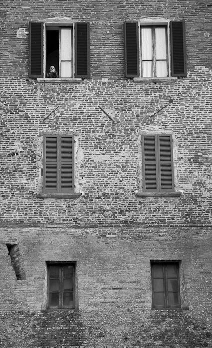 window wall in Italy, black and white